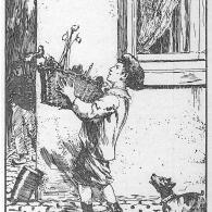 """Een jongen loopt door de straten met """"zijne greef"""", een mand vol geschenken die hij kreeg op Halfvasten (foto: In dien tijd...)"""